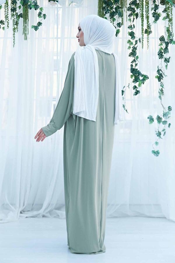 Yarasa Kol Salaş Ferace Elbise 190E-6738 Mint