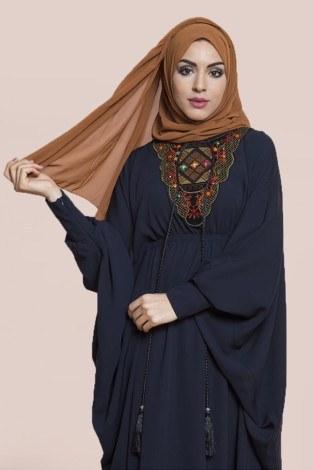 - Yarasa Kol Taşlı Nakışlı Elbise modahayme3810-2-lacivert (1)