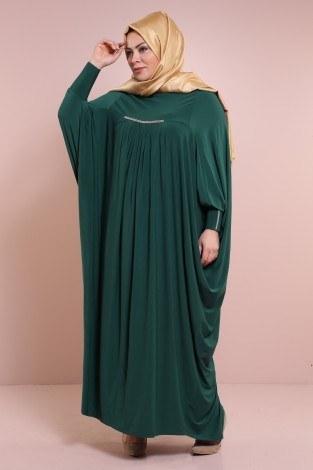 - Yarasa Kol Zümrüt Yeşili Ferace 6588-9