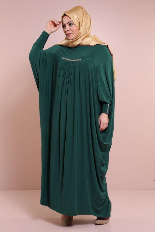 Yarasa Kol Zümrüt Yeşili Ferace 6588-9