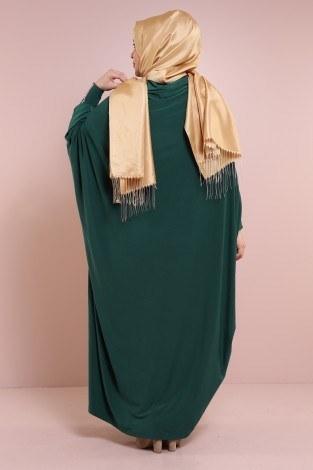 Yarasa Kol Zümrüt Yeşili Ferace 6588-9 - Thumbnail