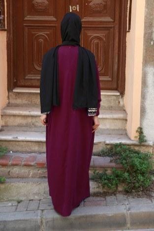 Yarasa Kol Ferace Elbise 5676-11 - Thumbnail