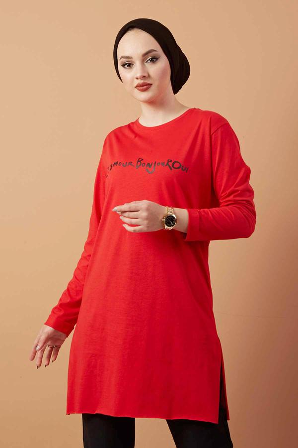 Yazı Baskılı Sweat Tunik 120NY8942 Kırmızı