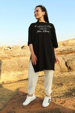 - Yazı Baskılı T-shirt 2352-1 Siyah