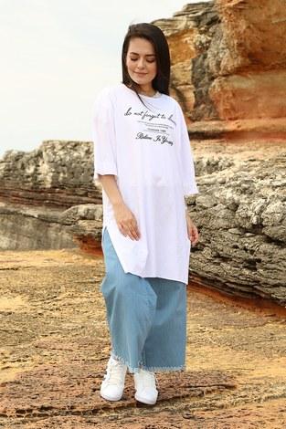 - Yazı Baskılı T-shirt 2352-2 Beyaz