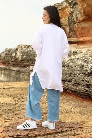 - Yazı Baskılı T-shirt 2352-2 Beyaz (1)