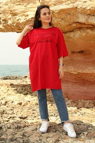 - Yazı Baskılı T-shirt 2352-3 Kırmızı
