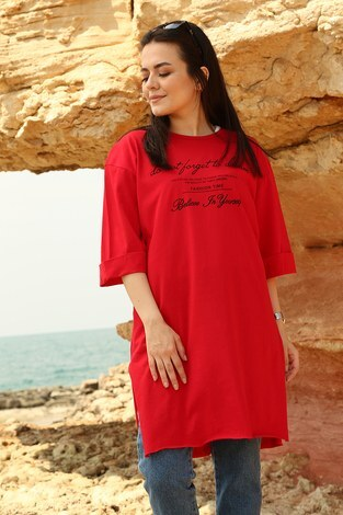 - Yazı Baskılı T-shirt 2352-3 Kırmızı (1)
