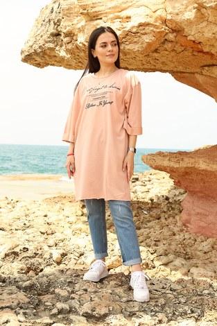 - Yazı Baskılı T-shirt 2352-4 Pudra