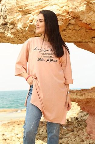 - Yazı Baskılı T-shirt 2352-4 Pudra (1)