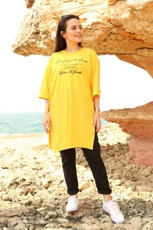 - Yazı Baskılı T-shirt 2352-5 Sarı