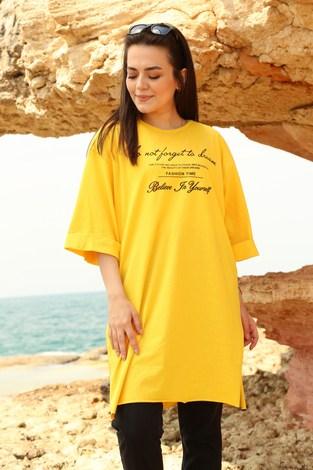 - Yazı Baskılı T-shirt 2352-5 Sarı (1)