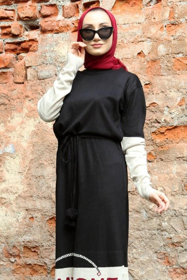 Yazı Baskılı Triko Elbise 1040-01