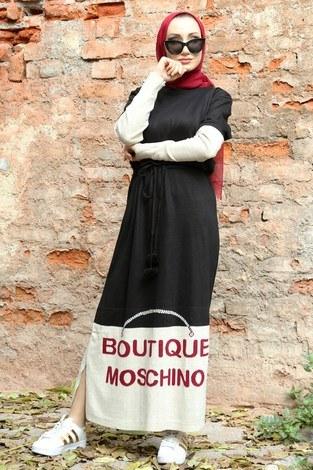 Yazı Baskılı Triko Elbise 1040-01 - Thumbnail