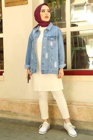 - Yırtıklı Kısa Açık Kot Ceket 5180-2 Mavi