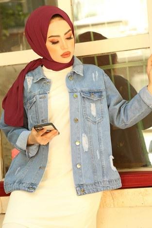 - Yırtıklı Kısa Açık Kot Ceket 5180-2 Mavi (1)
