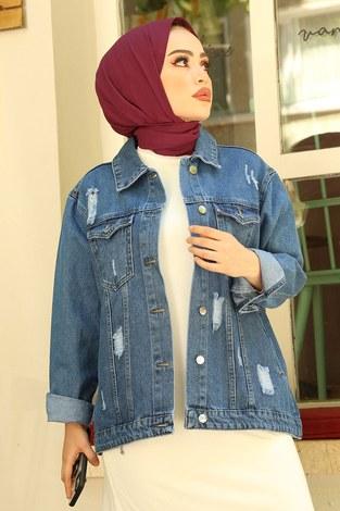- Yırtıklı Kısa Koyu Kot Ceket 5180-1 Mavi (1)