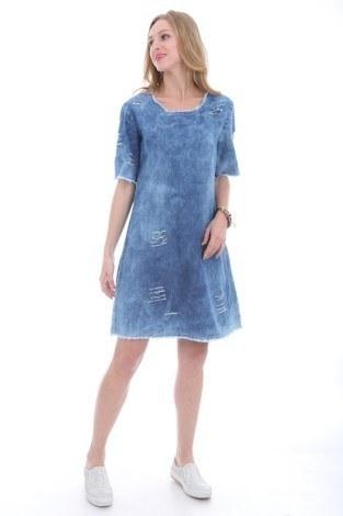 - Yırtıklı Kot Elbise 1470-1 (1)