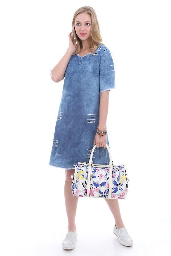 - Yırtıklı Kot Elbise 1470-1