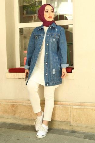 - Yırtıklı Koyu Uzun Kot Ceket 5170-2 Mavi