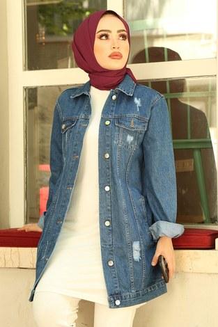 - Yırtıklı Koyu Uzun Kot Ceket 5170-2 Mavi (1)