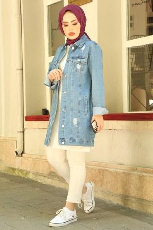- Yırtıklı Uzun Açık Kot Ceket 5170-1 Mavi