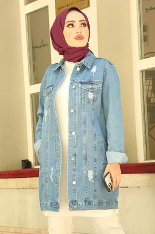 - Yırtıklı Uzun Açık Kot Ceket 5170-1 Mavi (1)