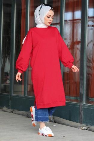 Yırtmaçlı Tesettür Sweat Tunik 2415-6 Kırmızı - Thumbnail