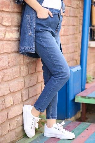- Yüksel Bel Koyu Mavi Kot Pantolon 2096-2 (1)