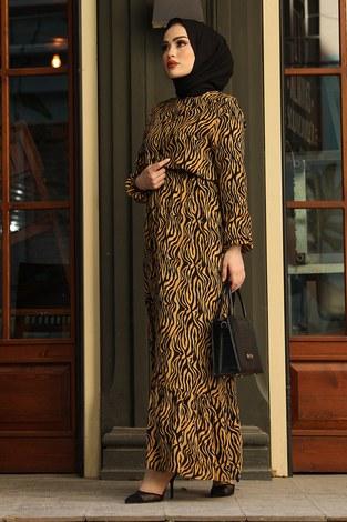 Zebra Desen Elbise 17637-2 Hardal - Thumbnail
