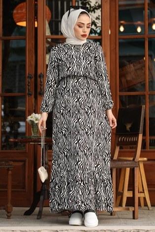 Zebra Desen Elbise 17637-1 Siyah - Thumbnail