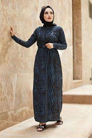 - Zebra Desen Kuşaklı Elbise 1132-2 Petrol