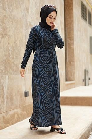 - Zebra Desen Kuşaklı Elbise 1132-2 Petrol (1)