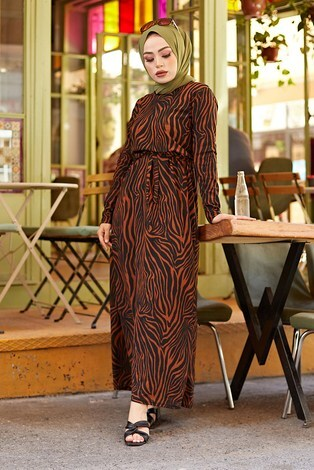 - Zebra Desen Kuşaklı Elbise 1132-3 Kiremit