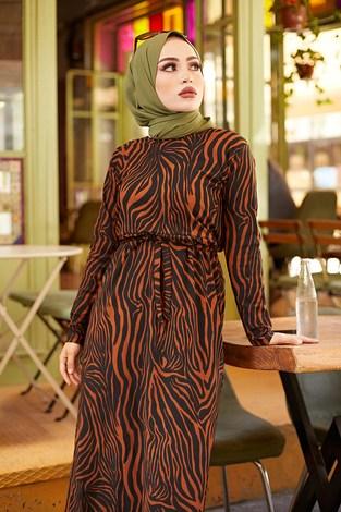 - Zebra Desen Kuşaklı Elbise 1132-3 Kiremit (1)