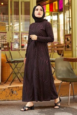 - Zebra Desen Kuşaklı Elbise 1132-4 Mor