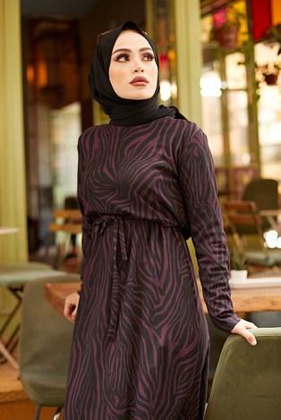 - Zebra Desen Kuşaklı Elbise 1132-4 Mor (1)