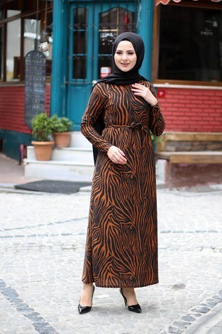 - Zebra Desenli Elbise 8508-389