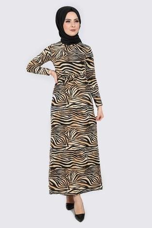 - Zebra Desenli Elbise 8508-400