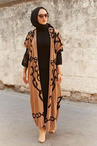 - Zincir Desenli Triko İkili Takım 2216-1 Camel