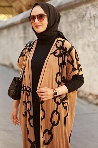 - Zincir Desenli Triko İkili Takım 2216-1 Camel (1)